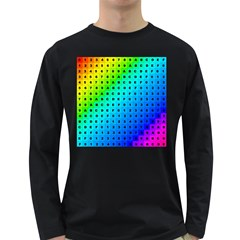 Letters Numbers Color Green Pink Purple Long Sleeve Dark T-Shirts
