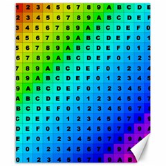 Letters Numbers Color Green Pink Purple Canvas 8  x 10