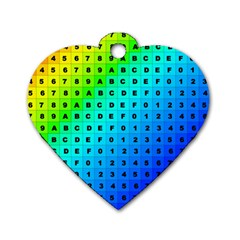 Letters Numbers Color Green Pink Purple Dog Tag Heart (One Side)