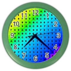 Letters Numbers Color Green Pink Purple Color Wall Clocks