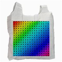 Letters Numbers Color Green Pink Purple Recycle Bag (Two Side)