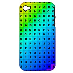 Letters Numbers Color Green Pink Purple Apple iPhone 4/4S Hardshell Case (PC+Silicone)