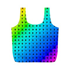 Letters Numbers Color Green Pink Purple Full Print Recycle Bags (M)