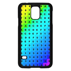 Letters Numbers Color Green Pink Purple Samsung Galaxy S5 Case (Black)
