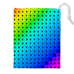 Letters Numbers Color Green Pink Purple Drawstring Pouches (XXL)