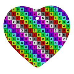 Mapping Grid Number Color Ornament (Heart)
