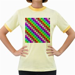Mapping Grid Number Color Women s Fitted Ringer T-Shirts