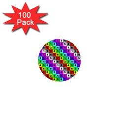 Mapping Grid Number Color 1  Mini Buttons (100 pack)