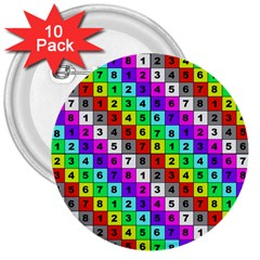 Mapping Grid Number Color 3  Buttons (10 pack)