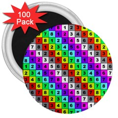 Mapping Grid Number Color 3  Magnets (100 pack)
