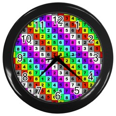 Mapping Grid Number Color Wall Clocks (Black)