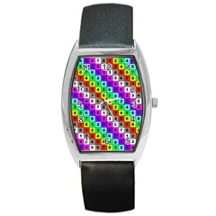 Mapping Grid Number Color Barrel Style Metal Watch