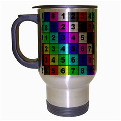 Mapping Grid Number Color Travel Mug (Silver Gray)