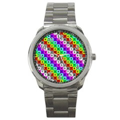 Mapping Grid Number Color Sport Metal Watch
