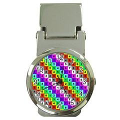 Mapping Grid Number Color Money Clip Watches