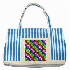 Mapping Grid Number Color Striped Blue Tote Bag