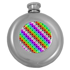 Mapping Grid Number Color Round Hip Flask (5 oz)