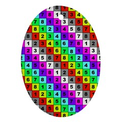 Mapping Grid Number Color Oval Ornament (Two Sides)