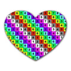 Mapping Grid Number Color Heart Mousepads
