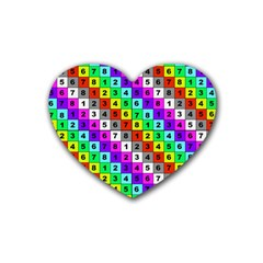 Mapping Grid Number Color Rubber Coaster (Heart)