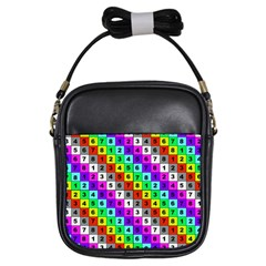 Mapping Grid Number Color Girls Sling Bags