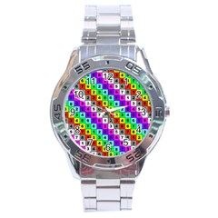 Mapping Grid Number Color Stainless Steel Analogue Watch