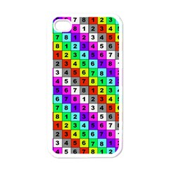 Mapping Grid Number Color Apple iPhone 4 Case (White)