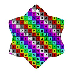 Mapping Grid Number Color Snowflake Ornament (two Sides)