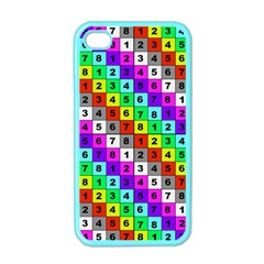 Mapping Grid Number Color Apple iPhone 4 Case (Color)