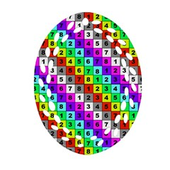 Mapping Grid Number Color Oval Filigree Ornament (Two Sides)