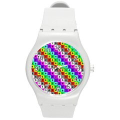 Mapping Grid Number Color Round Plastic Sport Watch (M)