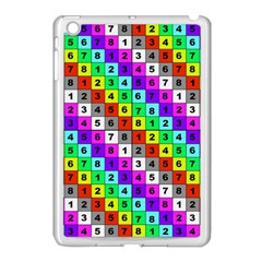 Mapping Grid Number Color Apple iPad Mini Case (White)