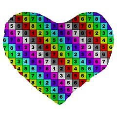 Mapping Grid Number Color Large 19  Premium Heart Shape Cushions
