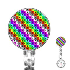 Mapping Grid Number Color Stainless Steel Nurses Watch