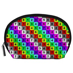 Mapping Grid Number Color Accessory Pouches (Large)