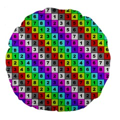 Mapping Grid Number Color Large 18  Premium Flano Round Cushions
