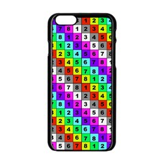Mapping Grid Number Color Apple iPhone 6/6S Black Enamel Case
