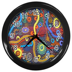 Mbantua Aboriginal Art Gallery Cultural Museum Australia Wall Clocks (Black)