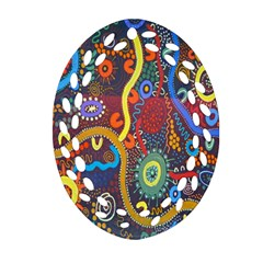 Mbantua Aboriginal Art Gallery Cultural Museum Australia Oval Filigree Ornament (Two Sides)