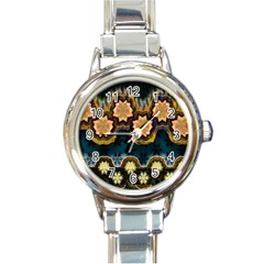 Ornate Floral Textile Round Italian Charm Watch