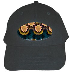 Ornate Floral Textile Black Cap