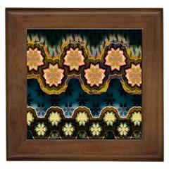 Ornate Floral Textile Framed Tiles