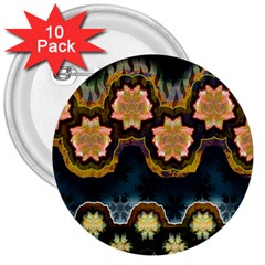 Ornate Floral Textile 3  Buttons (10 pack)
