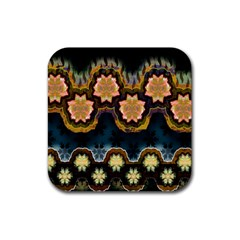 Ornate Floral Textile Rubber Square Coaster (4 pack)