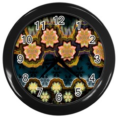 Ornate Floral Textile Wall Clocks (Black)