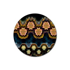 Ornate Floral Textile Rubber Round Coaster (4 pack)