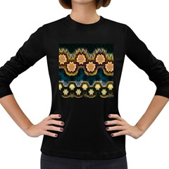 Ornate Floral Textile Women s Long Sleeve Dark T-Shirts