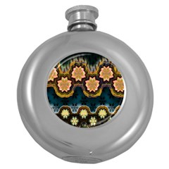 Ornate Floral Textile Round Hip Flask (5 oz)