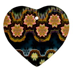 Ornate Floral Textile Heart Ornament (Two Sides)