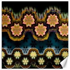 Ornate Floral Textile Canvas 12  x 12